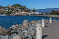 Road to the tiburon downtown and ferry area scenic view of city of california during a beautiful sunny day blue sky soft clouds Stock Photo