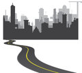 Road to town black and white vector illustration Royalty Free Stock Photo