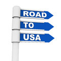 Road to usa work and travel concept on a street sign against white background Stock Photos