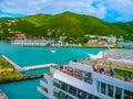 Road Town, Tortola, British Virgin Islands - February 06, 2013: Cruise ship Mein Schiff 1 docked in port Royalty Free Stock Photo