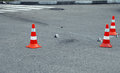 Road traffic cone on accident site