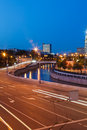 Road traffic in the evening on embankment of moscow river Royalty Free Stock Image