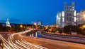 Road traffic in the evening on embankment of moscow river Royalty Free Stock Photos