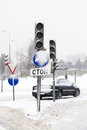 Road and traffic light snowfall Moscow Royalty Free Stock Photo