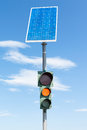 Road traffic light and solar panel Royalty Free Stock Photo