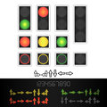 Road Traffic Light Vector. Realistic LED Panel. Sequence Lights Red, Yellow, Green. Time, Turn, Go, Wait, Stop Signals