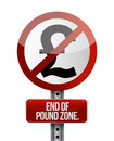 Road traffic sign with a british pound zone end concept Stock Photography
