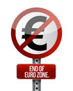 Road traffic sign with a euro zone end concept Stock Photo