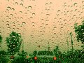 Road traffic in wet weather raindrops on the road rainy day Royalty Free Stock Photo