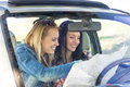 Road trip car lost women search map Stock Image