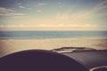 Road trip car sea ocean beach retro vintage Royalty Free Stock Photo