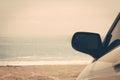 Road trip car sea ocean beach Royalty Free Stock Photo
