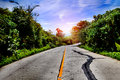 Road trips sunset and travel concept perspective asphalt road highway Stock Image