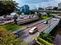 Road viaduct expressway a carriageway next to an under a in singapore Stock Image
