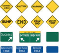 Road warning sign messages signs of changes ahead caution bump end dead end safety first success my way or high way retirement Stock Photography