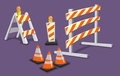 Road warnings construction warning roadblocks and traffic cones Royalty Free Stock Images