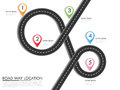 Road way location infographic template with pin pointer