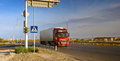 Road western europe western china truck transports cargo on the highway near the city of turkestan kazakhstan Stock Photography