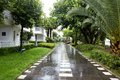 Road wet in luxury resort tengchong china Royalty Free Stock Image