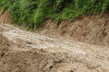 Road wet muddy of backcountry countryside Royalty Free Stock Images