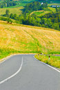 Road winding paved in the tuscany italy Royalty Free Stock Images