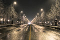 Road in the winter night budapest street on a Royalty Free Stock Photo