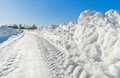 Road in winter snowy wiinter countryside moscow region of russia Royalty Free Stock Image