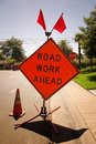 Road Work Ahead Stock Photography