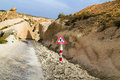 Road works ahead warning road sign cappadocia in mountain turkey Royalty Free Stock Photo