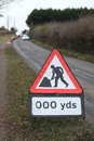 Road works sign ahead on a county Royalty Free Stock Images