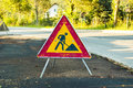 Road works sign ahead warning on a Stock Photo