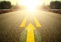 Road and Yellow arrow. Royalty Free Stock Photo