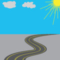Road with yellow markings in the long term illustration Royalty Free Stock Photo