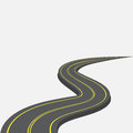 Road with yellow markings receding into the distance. 3d. illustration Royalty Free Stock Photo