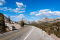 The road in yosemite park under blue sky Stock Photos