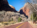 The road into zion canyon driving national park utah Royalty Free Stock Photos