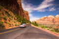 On the road in Zion National Park Royalty Free Stock Photo