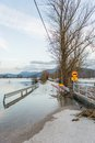 Roadblock beacouse of the floods placed because spring Royalty Free Stock Photo