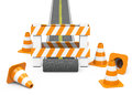 The roadblock d generated picture of a with cones Stock Photo