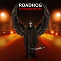 Roadhog ilustration of black scary scytheman with wings and text i am waiting for you over blurred road with lights Royalty Free Stock Photo