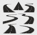 Roads in perspective. Bended pathway road curved city street to horizon. Journey asphalt highway isolated vector Royalty Free Stock Photo