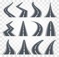 Roads set. Highway vector illustration on transparent baclground. Asphalt road, street icon.