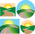 Roads and sunrises clip art of leading over hills to the sun Royalty Free Stock Photo