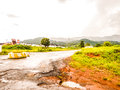 Roads in tropical africa sodden after the rain the road through the jungle liberia Royalty Free Stock Image