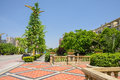 Roadside balustrade and pavement in sunny summer chengdu china Stock Photo