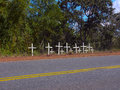 Roadside memorial at the br road sete lagoas region for one of the most dramatic car accident in the brazil crosses on the side of Royalty Free Stock Photography