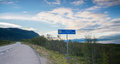 Roadsign Abisko national park in north sweden in the traffic road Royalty Free Stock Photo
