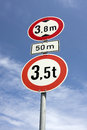Roadsign height restrictions Royalty Free Stock Image