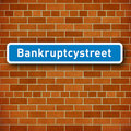 Roadsign with the name Bankruptcy street Stock Images