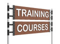 Roadsign training direction sign with courses words Stock Photo